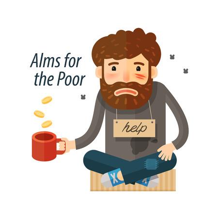 penniless: Beggar asking for money. Pauper, bum icon. vector illustration