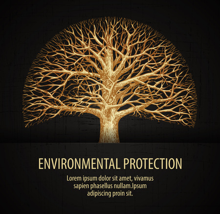 leafless: leafless tree. ecology, nature, environment vector illustration