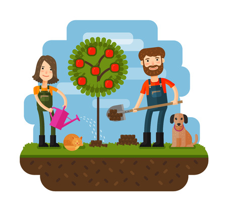 cultivate: Planting of tree, orchard, farmer, farm. Flat design illustration concepts for working, farming, harvesting, gardening seeding cultivate
