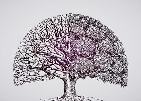 arbol de la vida: extracto, árbol estilizado. naturaleza de la ecología del vector ilustración entorno