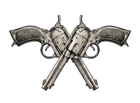 pistols: Crossed pistols. Vintage vector gun, pistol, handgun. Retro revolver Illustration