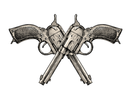 magnum: Crossed pistols. Vintage vector gun, pistol, handgun. Retro revolver Illustration