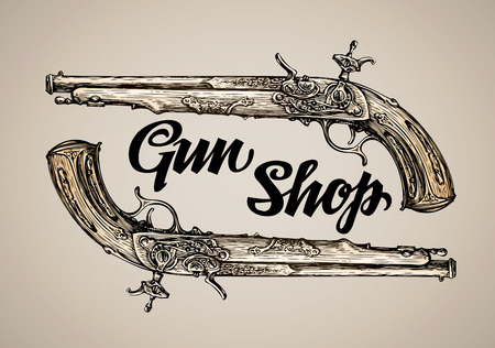 dueling pistol: Vintage vector gun. Hand drawn sketch antique musket Illustration