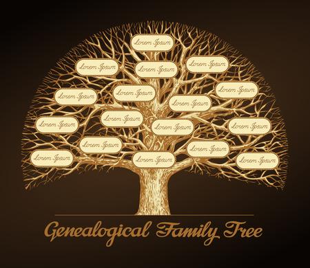 arbol genealógico: árbol genealógico de la familia sobre un fondo oscuro. Dinastía. ilustración vectorial