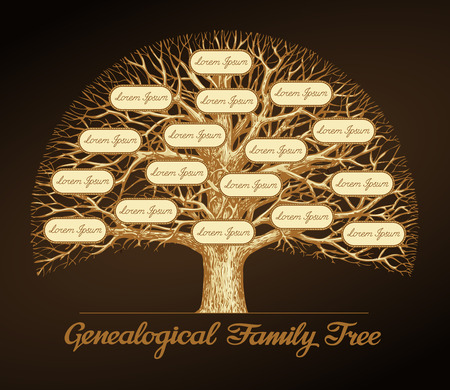 Genealogical family tree on a dark background. Dynasty. Vector illustration