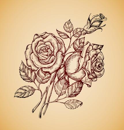 Vintage flowers. Hand-drawn retro sketch flower rose. Vector illustration Vetores