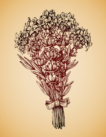 floret: Vintage bouquet of flowers. Hand-drawn retro sketch lavender flower. Vector illustration