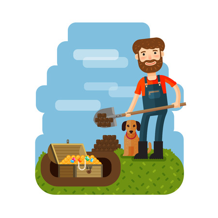 treasure trove: Treasure hunter, archaeologist, archeologist. Downshifter Unexpected discovery vector illustration Illustration