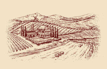 vintage landscape: Italy. Italian landscape. Hand drawn sketch vintage vineyard, farm. Vector illustration Illustration