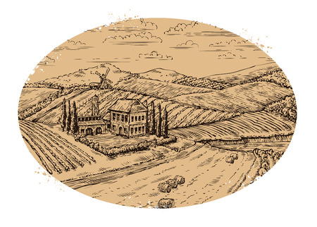 vineyards: Vineyard landscape. Retro label. Hand-drawn vector vintage farm, agriculture Illustration