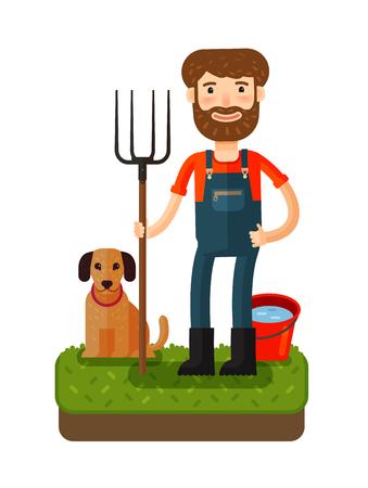 Happy farmer with pitchfork. Vector icon. Cartoon illustration
