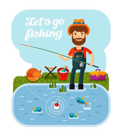 pecheur: Pêcheur avec la pêche. Camping, vacances, détente vecteur Cartoon illustration