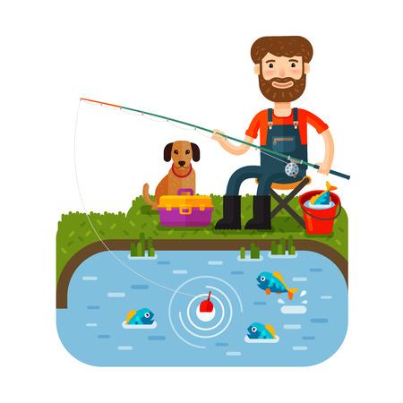 fish pond: Fun fisherman catches fish. Fishing rod. flat style. Vector illustration Illustration