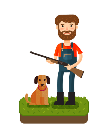 watchman: Hunting. Happy hunter standing with gun in his hands. Cartoon vector illustration