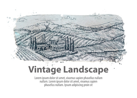 arable: Farm, farming. Hand drawn sketch rural landscape. Vineyard vector illustration