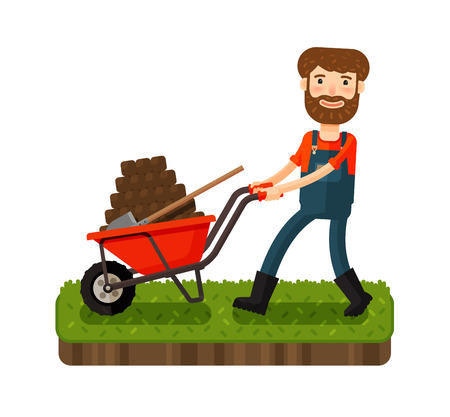 manure: Happy farmer pushing cart with black earth. Cartoon vector illustration Illustration