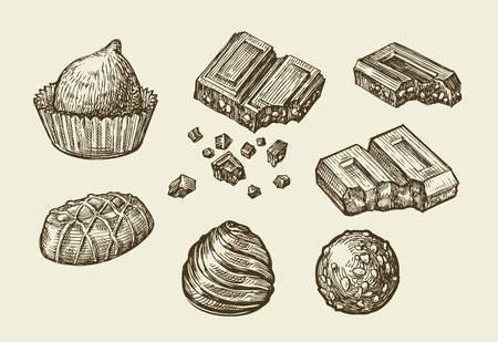 souffle: Chocolates. Hand-drawn sketch sweets, caramel, candy, bonbon sweetmeat Vector illustration Illustration