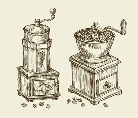 coffee mill: Vintage coffee grinder. Hand-drawn sketch hot drink, retro object. Vector illustration
