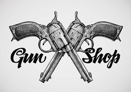 Hand-drawn vintage guns. Crossed pistols. Vector illustration