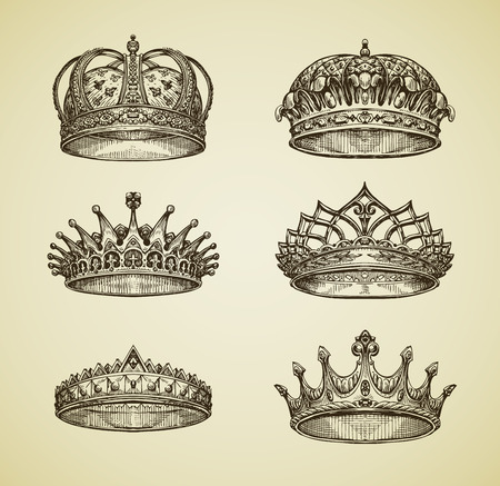 dominion: Hand drawn vintage imperial crown in retro style. King, Emperor, dynasty, throne, luxury symbol. Vector illustration Illustration
