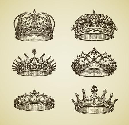 dynasty: Hand drawn vintage imperial crown in retro style. King, Emperor, dynasty, throne, luxury symbol. Vector illustration Illustration