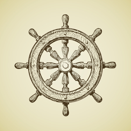 Hand drawn vintage ships wheel in the old-fashioned style. Vector illustration Ilustração