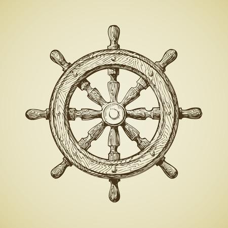 timon de barco: Naves de la vendimia rueda dibujados a mano en el estilo pasado de moda. ilustración vectorial