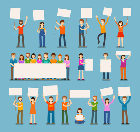 mob: set of people with blank white banner in various action. Simple, flat design. Vector illustration
