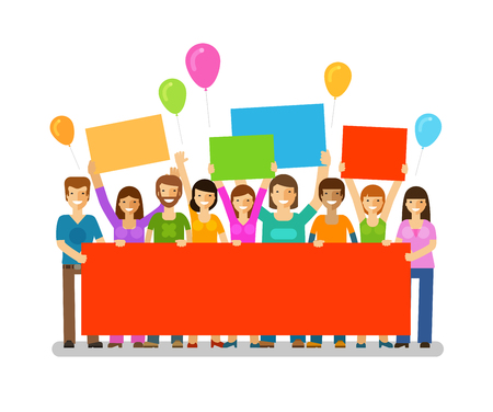social gathering: Friends with congratulatory banner in hands. Holiday. Happy birthday. Corporate party, celebration or festival vector icon