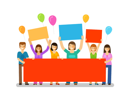 congratulatory: Holiday. Happy birthday. Corporate party, celebration, festival vector icon. Friends with a congratulatory banner in hands