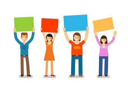 personalidad: Las personas con pancartas en estilo de diseño plano. La opinión pública, los aficionados, los iconos de la sociedad. ilustración vectorial