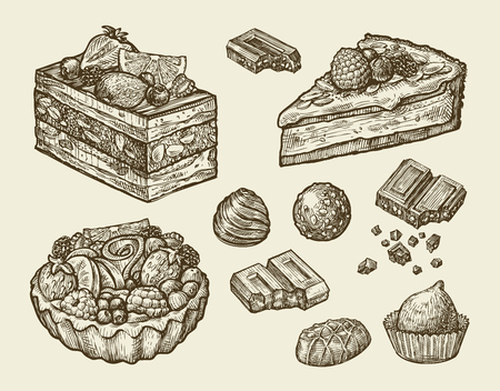 illustration: dessert, food. hand drawn cake, pastry, chocolate, cake pie candy sweet sketch vector illustration Illustration