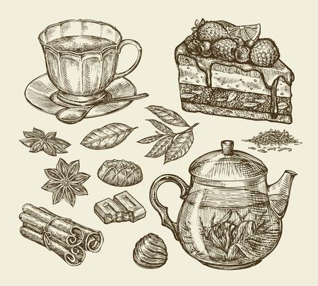 trozo de pastel: Té, postre, comida. dulces de chocolate tetera de anís canela dibujados a mano pastel, pastosa, pedazo de la torta, taza, ilustración vectorial Boceto