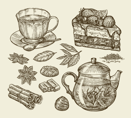 piece of cake: Tea, dessert, food. Hand-drawn pie, pasty, piece of cake, cup, teapot anise cinnamon chocolate sweets Sketch vector illustration Illustration