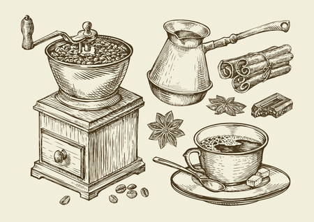Macinino da caffè disegnato a mano, tazza, fagioli, anice stellato, cannella, cioccolato, bevanda di cezve Schizzo di vettore
