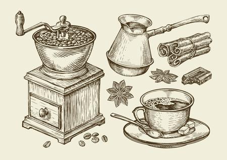 Ręcznie rysowane młynek do kawy, filiżanka, fasola, anyż, cynamon, czekolada, napój Dżezwa ilustracji szkic