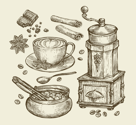 fresh brewed: Hand-drawn vintage coffee grinder, cup, beans, star anise, cinnamon, chocolate, drink, sugar bowl Sketch vector illustration Illustration