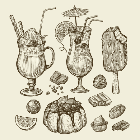 fruitcakes: Food and drinks. Hand-drawn cocktail, smoothie, pie, pasty, cake, ice lolly, sundae milkshakes chocolates dessert Sketch vector illustration