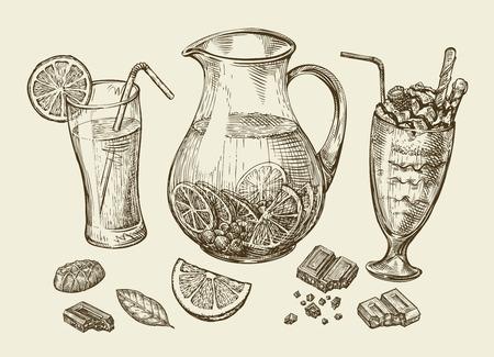jugo de frutas: Bebidas. Dibujado a mano de cócteles, batidos de frutas, jarra de limonada, batidos, zumos de frutas, chocolate, postre bebida ilustración Esquema del vector