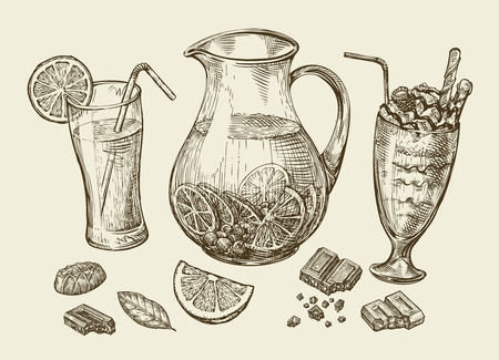 Drinks. Hand-drawn cocktail, smoothie, pitcher of lemonade, milkshakes, fruit juice, chocolate, dessert beverage Sketch vector illustration Illustration