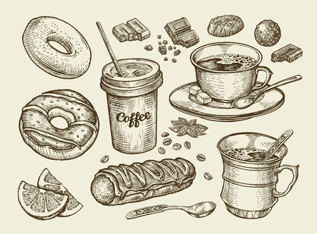 eclair: Drinks and food. Hand-drawn coffee, tea, cup, dessert, candy, chocolate eclair cake doughnut donut Sketch vector illustration Illustration