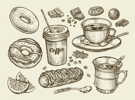 Napoje i jedzenie. R? Cznie rysowane kawy, herbaty, fili? Anka, deser, cukierki, czekoladowe ciastko eclair Donut p? Czki Szkic ilustracji wektorowych