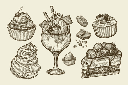 Food, dessert. Hand-drawn ice cream, meringue, cupcake, chocolate, piece of cake, pastry candy muffin Sketch vector illustration Vectores