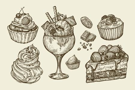 magdalenas: Comida, postre. Dibujado a mano helados, merengue, magdalena, chocolate, pedazo de pastel, pastelería panecillo de caramelo ilustración Esquema del vector