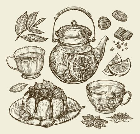 cafe bombon: Comida, postre, bebidas. Dibujado a mano tetera, té, café, pastel de taza de la torta pastosa ilustración Esquema del vector