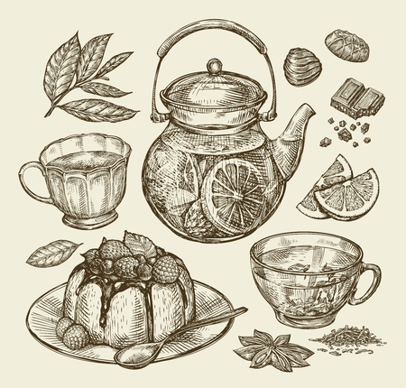 coffee and cake: Food, dessert, drinks. Hand-drawn teapot, tea, coffee, cup pie pasty cake Sketch vector illustration