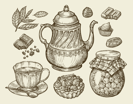 fruitcakes: Food, tea, dessert. Hand-drawn vintage teapot, kettle, cup, raspberry jam chocolate candy fruitcake pastry Sketch vector illustration Illustration