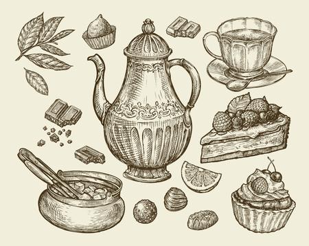 trozo de pastel: Alimentos, té, postres. Dibujado a mano tetera vintage, tetera, taza, tazón de azúcar, chocolate, dulces pasteles pedazo pastel de frutas de pastel ilustración Esquema del vector
