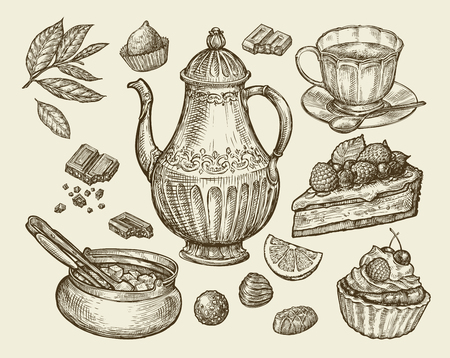 fruitcakes: Food, tea, dessert. Hand-drawn vintage teapot, kettle, cup, sugar bowl, chocolate, candy fruitcake pastry piece of pie Sketch vector illustration Illustration