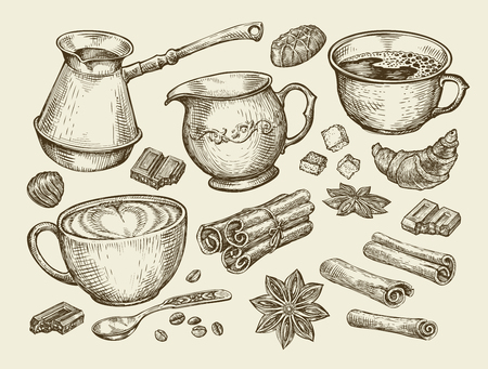 creamer: Food, tea, coffee. Hand-drawn cup, cinnamon, anise, creamer, teaspoon croissant sugar beans chocolate candy turk Sketch vector illustration